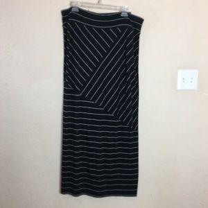 Pure Energy Black & White Striped Maxi Skirt